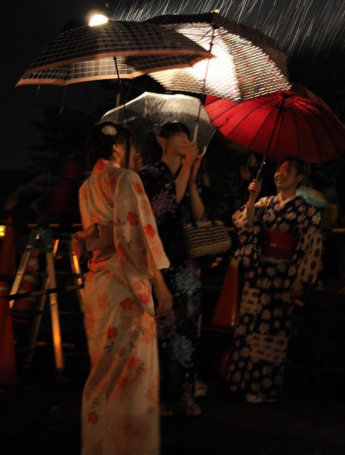 Girls wearing traditional kimonos in Kanazawa, Japan.