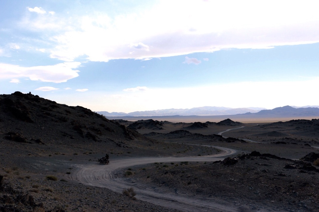 Cycling a desert track in Mongolia. Cycle tour of Mongolia | Crank and Cog.