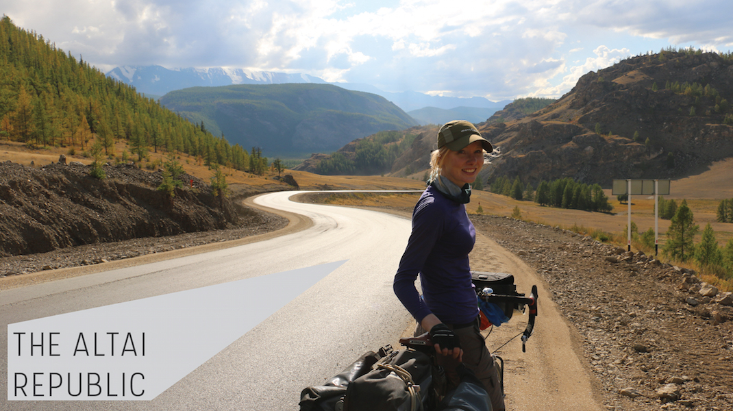 Cycling the Chusky Tract, Altai republic, Russia.