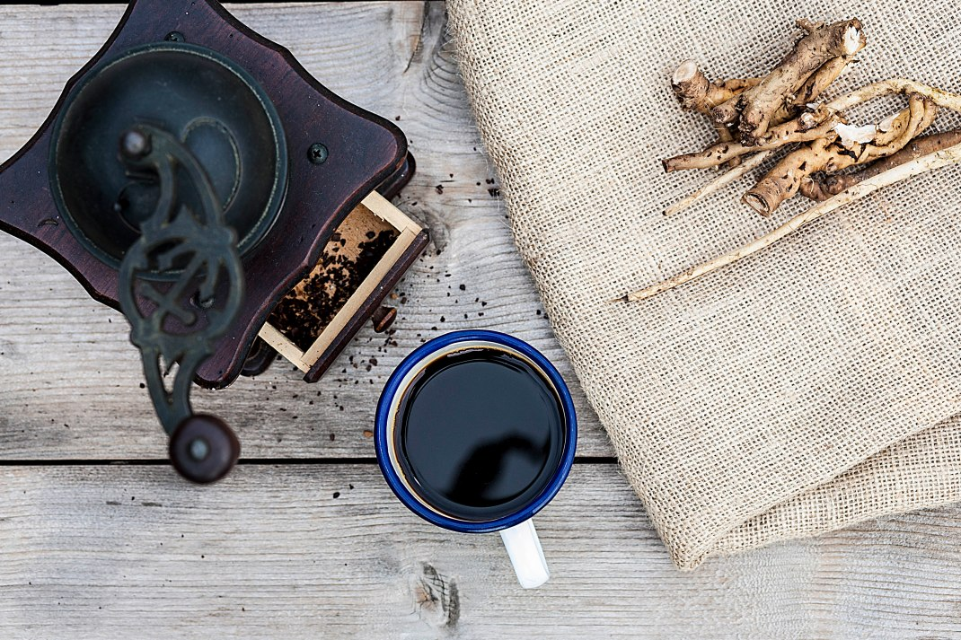 Ground dandelion coffee.