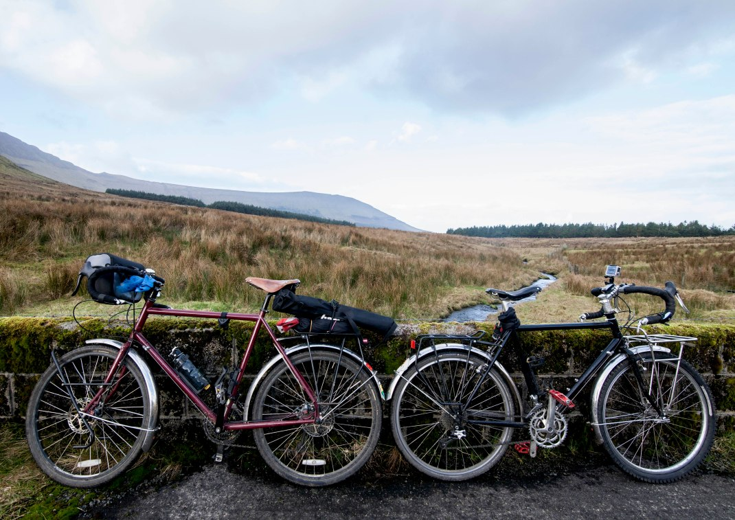 Surly LHTs by a bridge at Gleniff, County Sligo, Ireland | Crank and Cog one day cycle loops in Ireland. Local Loops.