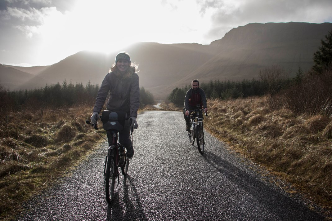 Ciaran and Laura Cycling Gleniff, County Sligo, Ireland | Crank and Cog one day cycle loops in Ireland. Local Loops.