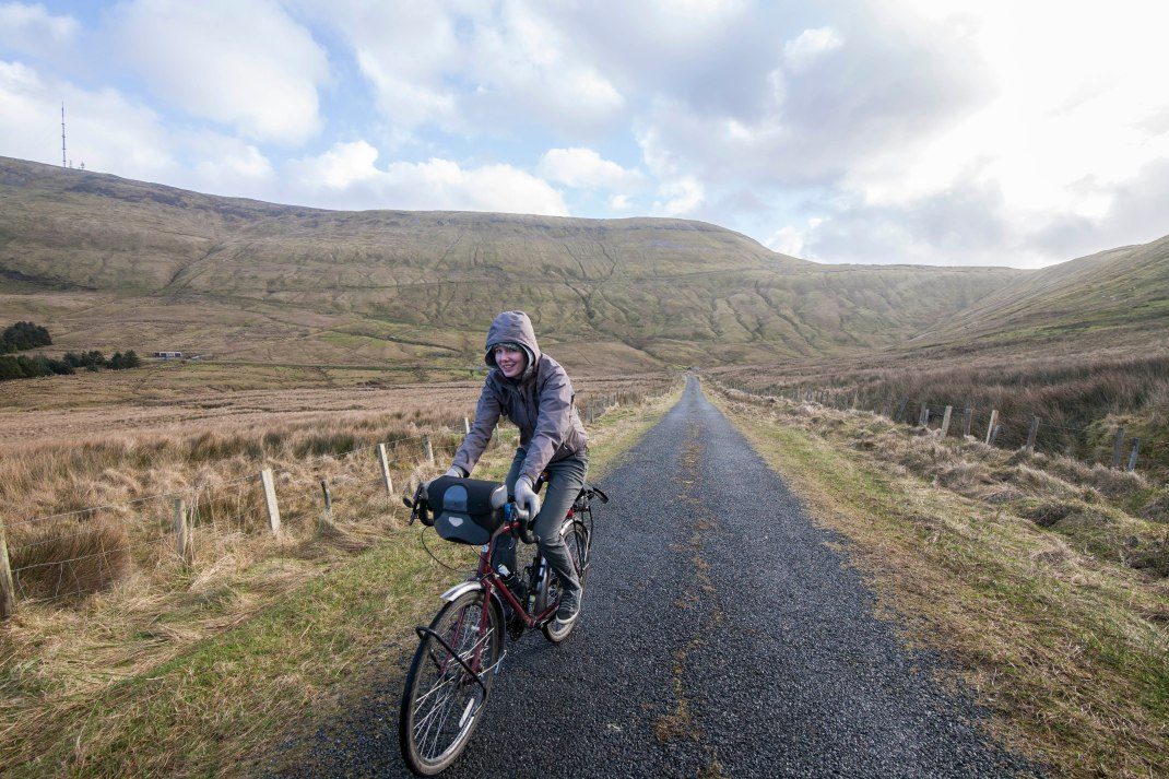 Laura cycling in Gleniff, County Sligo, Ireland | Crank and Cog one day cycle loops in Ireland. Local Loops.