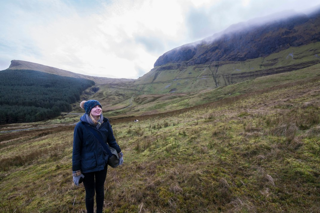 Laura hiking a mountain, Gleniff, County Sligo, Ireland | Crank and Cog one day cycle loops in Ireland. Local Loops.