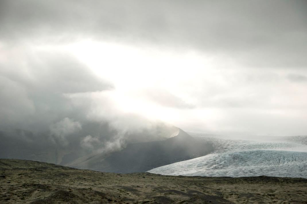 Stormy clouds over Vatnajokull glacier in Iceland | Crank & Cog cycle tour of Iceland.