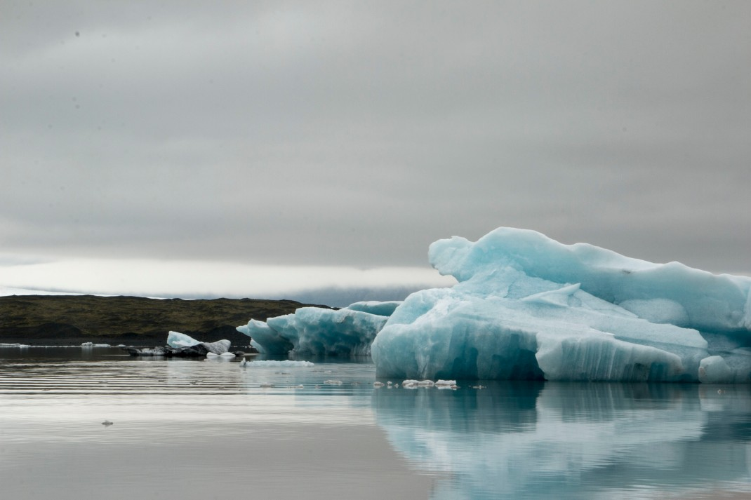 Floating ice on a lake in Iceland | Crank & Cog cycle tour of Iceland.