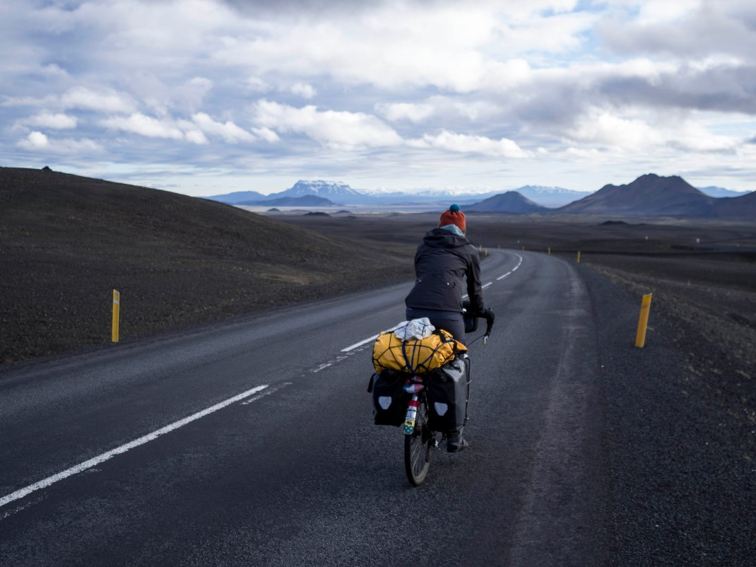 Laura on Route one | Crank & Cog cycle tour of Iceland.