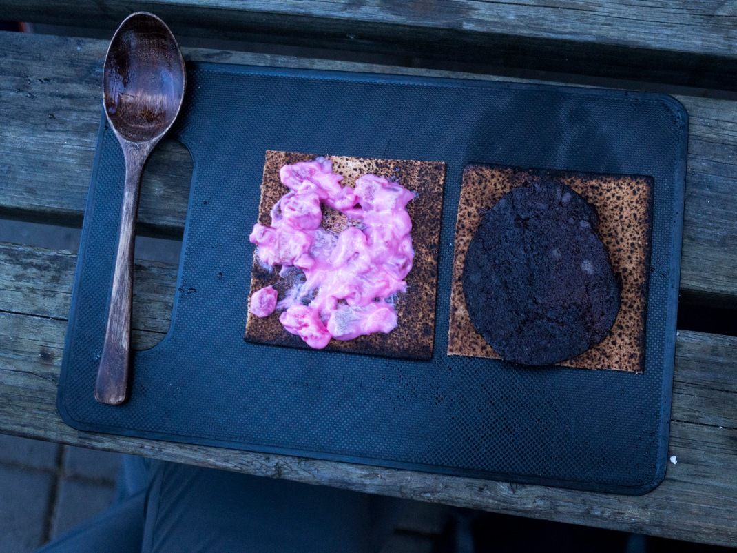 Sildarsalat (herring salad) and blodmör ( sheep blood sausage) on flat bread | Crank & Cog
