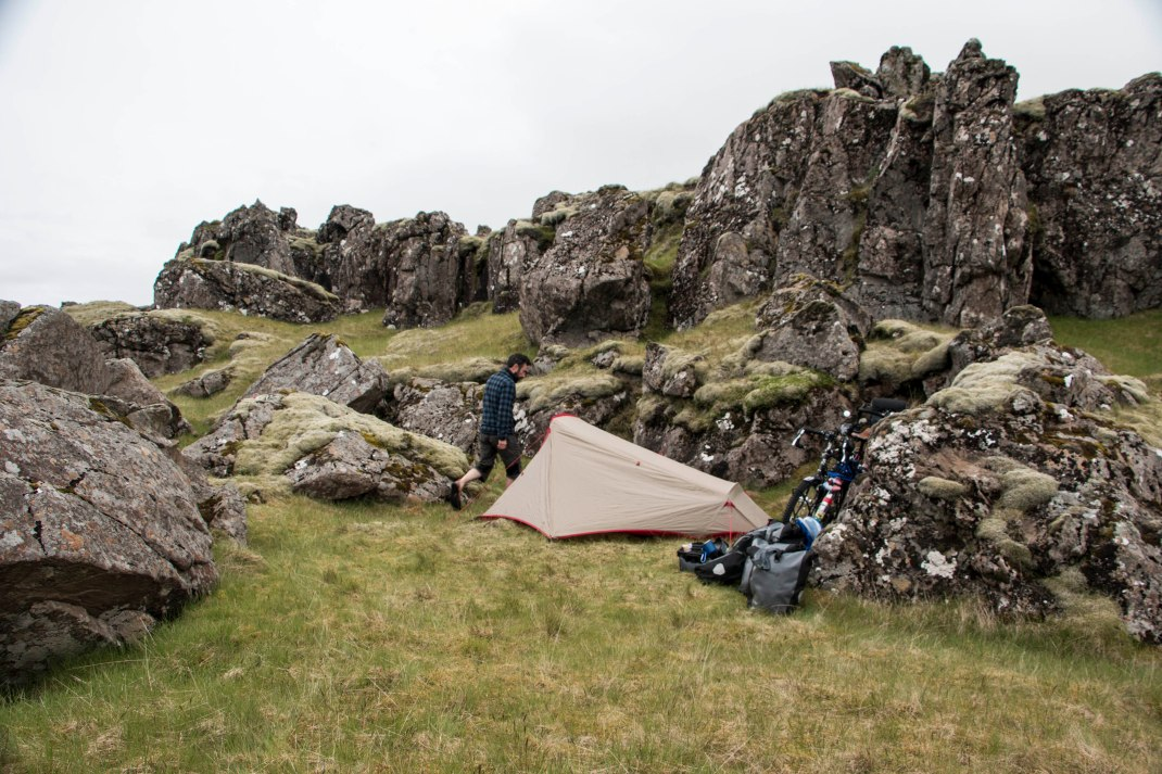 Camping amongst the rocks of Iceland | Crank & Cog cycle tour of Iceland.