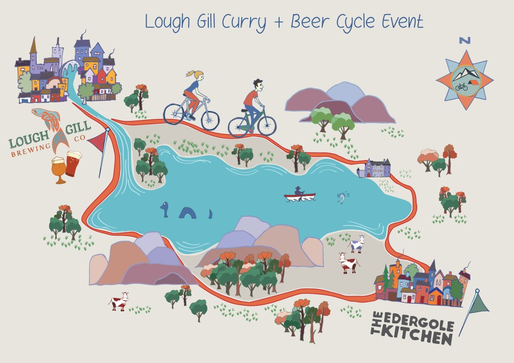 A cycle map of Crank and Cog's Curry and Beer cycle event.
